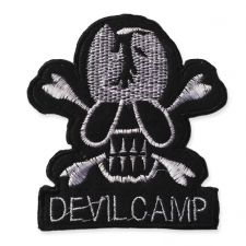 DEVIL CAMP SKULL MOTIF IRON ON EMBROIDERED PATCH APPLIQUE